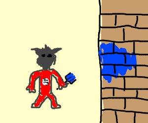 Dark fuzzy goblin thing paints wall blue.