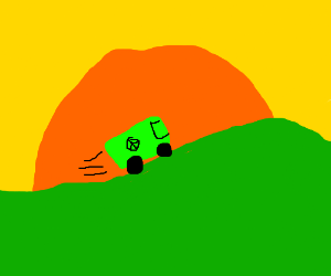 Hippie van driving up a hill in the sunset