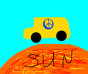 Peace Bus rides over the sun