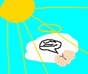 God and his talking butt sunbathe