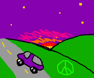 nice purple car driving up hill at dusk peace