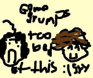 Game Grumps. Danny's sad, Arin smiles.