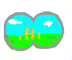 yellow family ssen through binoculars