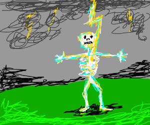 Lightning strikes a skeketon