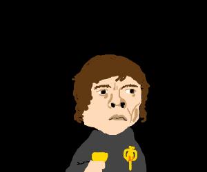 Tyrion Lannister holds a golden goblet