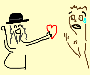 Enthusiastic Jew gives a heart to scared man