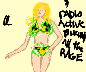 Blonde wears glowing radioactive bikini