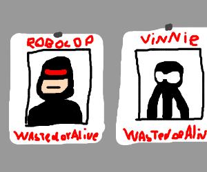 "RoboCop and black stickman ""Dead or alive"""