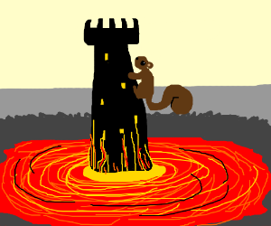 Tower rising from pool of lava with squirrel.