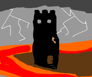 lava surrounded castle tower, squirrel climbs