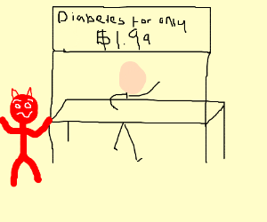 Can buy diabetes for only 1.99, devil confused
