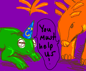 Wizard frog and Stegosaurus are looking to you