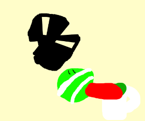 Tennis ball enjoys some green tea