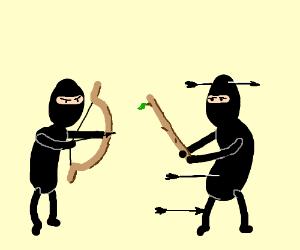 ninja w.bow&arrow tries to shoot ninja w.stick