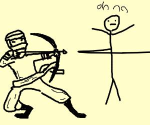 Ninja Archer shoots ninja with stick