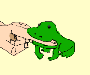 a frog thereby biting the finger