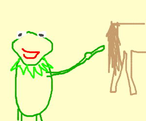 Kermit does ET finger thing to a pony