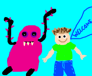 sucker pink monster presented by happy kid