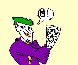 Joker sees Batman in Rorschach test.
