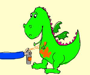 Poor dragon gets spraypainted