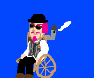 Pink-haired steampunk person in a wheelchair