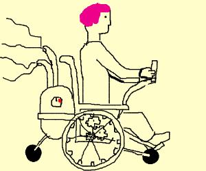 Pink haired man in steam punk wheelchair