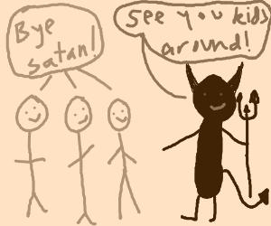 Cartoon satan will see kids round