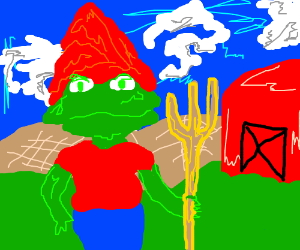 Gnome and frog hybrid farmer wih blue pants