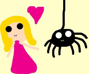 Strange blonde woman loves a spider.