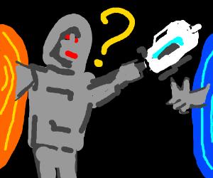 Confused robot w/ portal gun