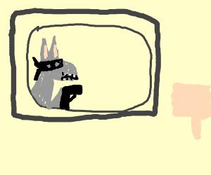 Donkey-burglar TV gets bad reception