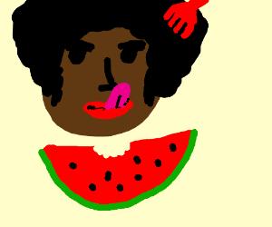black man eating watermelon