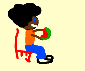 Afro-american stereotype enjoying watermelon