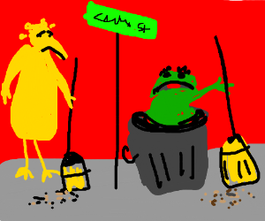 Oscar & Big Bird hate sweeping Sesame Street