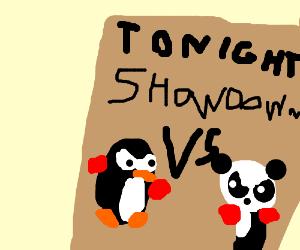 boxing penguin vs panda drawing by meh2ndaccount