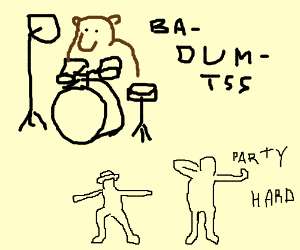 being forced to dance by a bear playing a drum