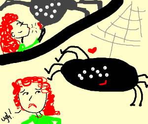 She's just kissed a giant spider