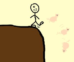 stickman cyclops kicks piglets off cliff face