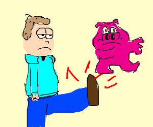 Jon Arbuckle kicks unhappy pigs
