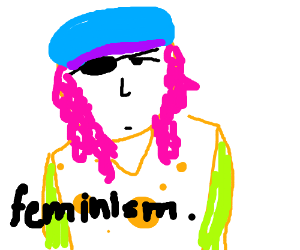 A hippie feminist with a captain eye patch