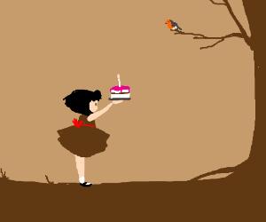 Girl brings Robin a birthday cake