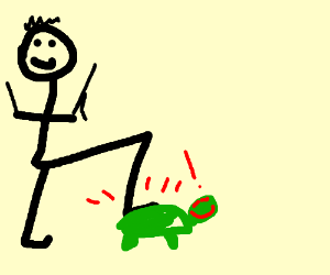Person stomping on turtle, who really likes it