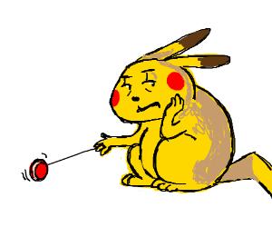 Pikachu plays with a yoyo