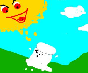 Sun is enjoying watching marshmallow frying.