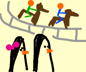 Sir and Lady Penguin at a horse race