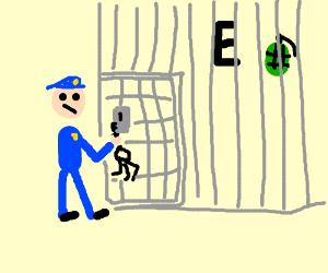 Police officer imprisons grenade and letter E