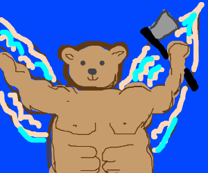 Muscle-bear angel holds an axe