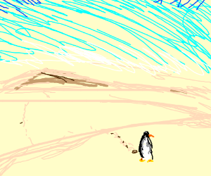 A sad white penguin is lost in the desert
