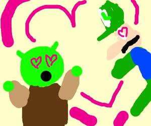 Shrek and Luigi express love for each other