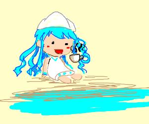 Squid drinks tea
